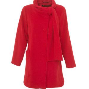 Damen Winterjacke A-Form Velour Rot - Crines Design