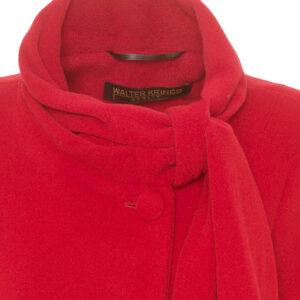 Damen Winterjacke A-Form Velour Rot besonderer Kragen - Crines Design