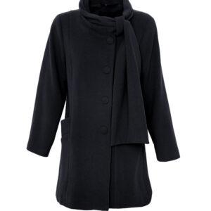 Damen Winterjacke A-Form Velour Schwarz - Crines Design
