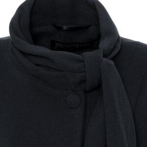 Damen Winterjacke A-Form Velour Schwarz Kragenansicht - Crines Design