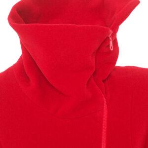 Damenjacke Wolle Velour Rot aufgeklappter Kragen- Crines Design